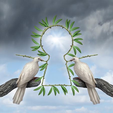 Clave de símbolo de la paz como dos palomas blancas que viene junto con una solución reconciliatiation con ramas de olivo que están en la forma de un ojo de la cerradura como una metáfora de la amistad y la resolución alternativa a la guerra Foto de archivo - 26171430