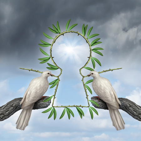 Key to peace symbol as two white doves coming together with a reconciliatiation solution with olive branches that are in the shape of a keyhole as a metaphor for friendship resolution and alternative to war