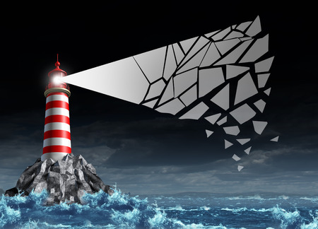 risky situation: Management crisis business concept as a lighthouse with a light beam cracking and breaking apart as a metaphor fo guidance stress and direction confusion or communication problems