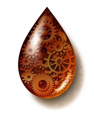 Olie-industrie symbool als een vloeibare aardolie druppel met de aangesloten toestellen en radertjes in als een icoon van brandstof en energie voor een industriële machine motor op wit wordt geïsoleerd Stockfoto