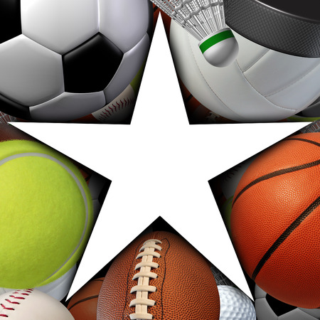 fitness equipment: Sports star symbol with a group of sport balls equipment as an icon of recreation fitness success and exercise with a blank white area  Stock Photo