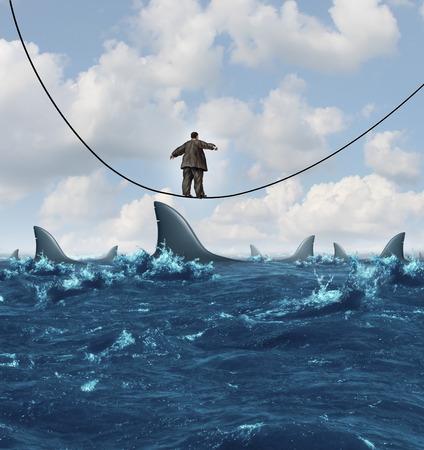 competitividad: Concepto de negocio Vulnerable como un hombre de negocios con sobrepeso no aptos caminar sobre una cuerda floja que se hunde con dangerouse tiburones listos para atacar como una met�fora de la vulnerabilidad financiera en un entorno econ�mico competitivo
