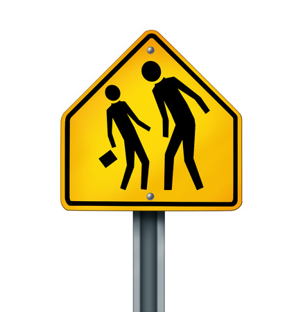 Bullying concept as a yellow traffic sign with an abusive bully attacking a smaller defenseless person as a symbol of the anxiety of being bullied and the social issues of human psychological abuse and fear isolated on white  photo