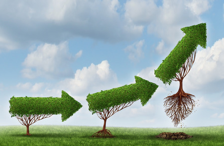 Business launch success symbol as a group of trees shaped as an arrow gradually maturing lifting off upward as a metaphor for soaring profits and the opportunity or potential of strong investment growth