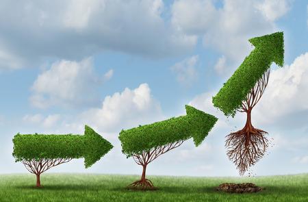 concept: Lancio commerciale simbolo successo come un gruppo di alberi a forma di freccia gradualmente maturando sollevamento fuori verso l'alto come una metafora per i profitti impennata e l'opportunità o potenziale di una forte crescita degli investimenti