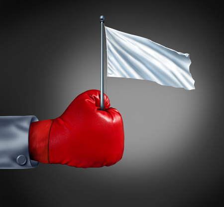 conquered: Business surrender as a metaphor for retreat in finance with a red boxing glove holding a blank cloth on a flagpole  as an icon of giving up the fight and competition loss