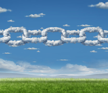 Cloud chain network business concept as a group of cumulus clouds in the sky shaped as a linked chain connected together as an icon of financial and technology cooperation or environmental air quality partnership