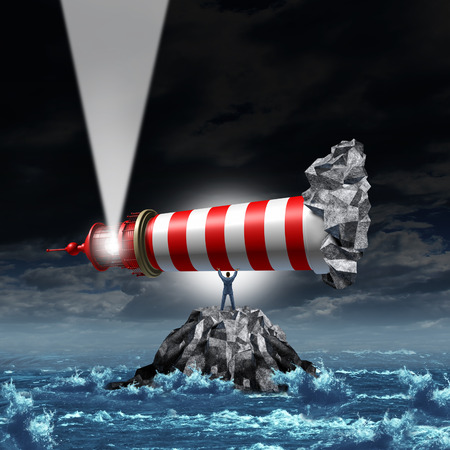 Direction leadership business concept as a strong manager businessman lifting up a lighthouse from a rock island and pointing the light up as a metaphor for illuminating a path to growth and success with strategic vision  Stock Photo
