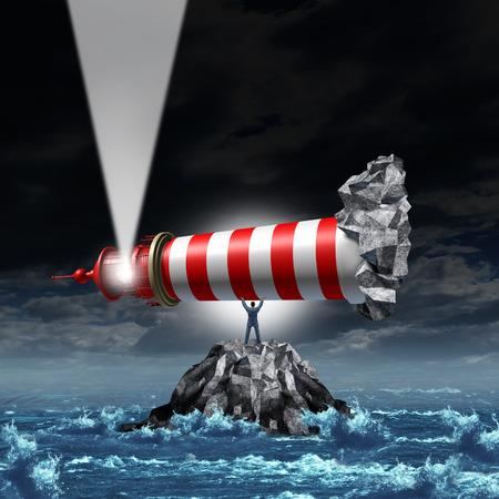 Richting leiderschap business concept als een sterke manager zakenman het optillen van een vuurtoren uit een rots eiland en wees het licht als een metafoor voor het verlichten van een pad naar groei en succes met strategische visie Stockfoto