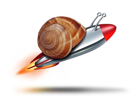 Concepto de velocidad caracol rápido con una concha mullosk ser volado por un cohete como metáfora de negocios para un servicio rápido y de innovación tecnológica competitiva en un fondo blanco