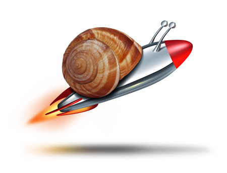 Fast snail speed concept with a mullosk shell being flown by a rocket  booster as a business metaphor for rapid service and competitive technology innovation on a white background