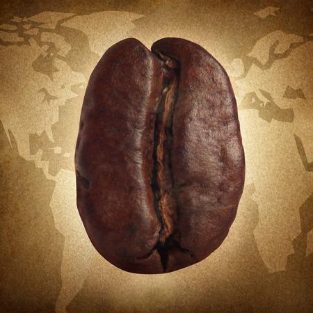 cafe colombiano: Concepto del café del grunge con una semilla de frijol naturales tostado para espresso o capuchino elaboración de la cerveza como un concepto global de alimentos naturales en un mapa del mundo que representa la mezcla de diferentes tipos de asados ??de todo el mundo