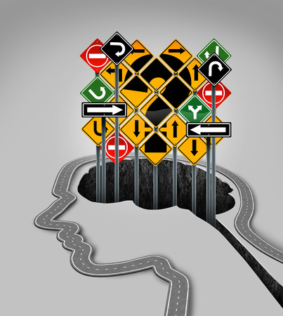 brain mysteries: Head question mark concept as a road shaped as a human face profile and confusing traffic signs rising from a hole that is in the shape of a brain as a symbol of guidance questions and uncertainty in business and health