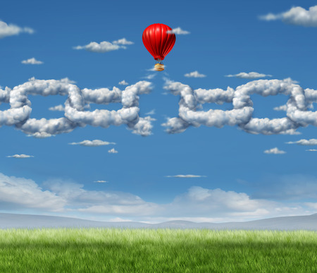 New Markets Breakthrough business concept  as a group of clouds shaped as a linked chain being broken throgh by a businessman in a hot air balloon as a success metaphor for freedom from the shackles of repression and dirty air