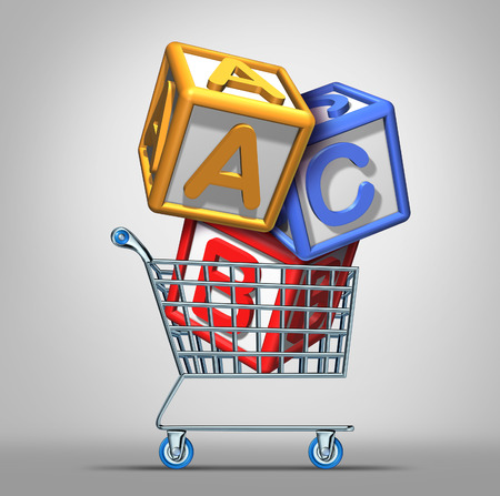 Preschool shopping and early education concept with a a group of three dimensional school alphabet blocks in a shop cart as a symbol of finding the best daycare center or nursey for young children learning  photo