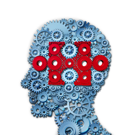 cognitive: Psychology puzzle head concept with a human face in side view made of connected gears and cogs with a group of red cog wheels shaped as a jigsaw piece as a medical metaphor for cognitive intelligence function  Stock Photo
