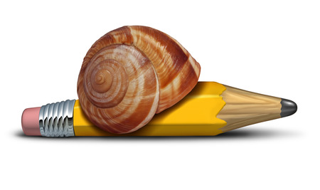 procrastination: Slow strategy business concept and planning delays metaphor with a snail shaped as a pencil as a symbol of sluggish profress and procrastination of plans and reform
