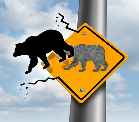 bearish market: Bear market decline business and finance concept for wealth growth as a yellow traffic sign with a bull icon breaking out of the metal  escaping to higher levels of economic success and profitability