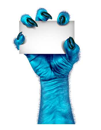 classic monster: Blue monster hand as a zombie holding a blank sign card as a creepy halloween or scary alien symbol with textured cold skin and hairy wrinkled fingers on a white background  Stock Photo