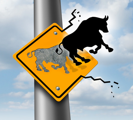 breaking out: Bull market rise business and finance concept for wealth growth as a yellow traffic sign with a bull icon breaking out of the metal and escaping to higher levels of economic success and profitability