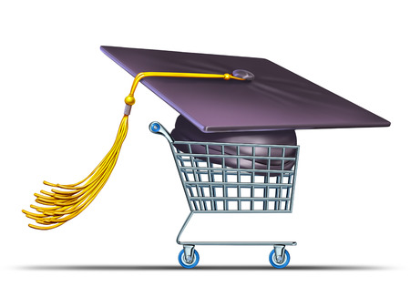 scholarship: College And University Shopping concept with a giant mortar board or graduation cap in a store shop cart as a metaphor for tuition and scholarship choices  Stock Photo