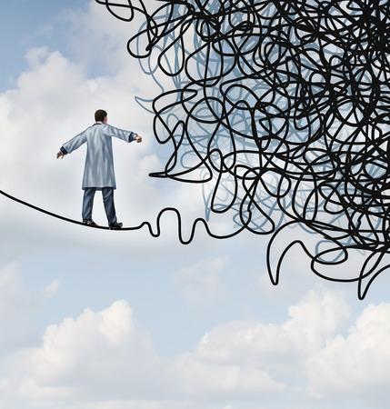 Doctor Stress medische concept als arts in een laboratoriumjas lopen op een koord dat raakt verstrikt en verward in chaos als de gezondheidszorg metafoor voor onzekerheid op het gebied van de geneeskunde Stockfoto