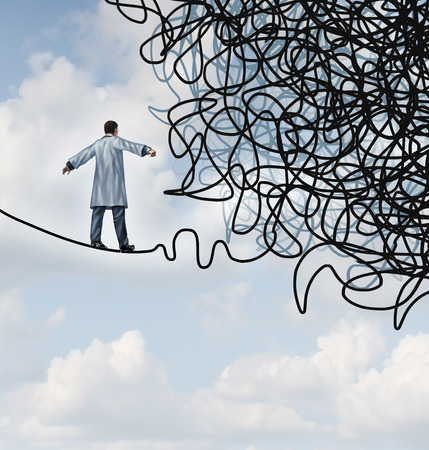incertezza: Dottore stress concetto medico come medico in un laboratorio cappotto camminando su una fune che diventa aggrovigliato e confuso nel caos come una metafora di assistenza sanitaria per l'incertezza nel campo della medicina