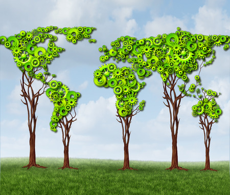 agriculture industry: Global tree gears with a group of green cog wheels connected together in a business partnership community of cooperation as a metaphor for world economic growth  Stock Photo