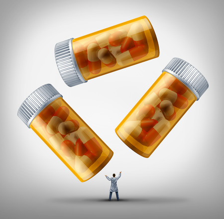 generic drugs: Medicine management health care concept as a doctor or pharmacist in a white lab coat juggling a group of prescription pill bottles as a metaphor for disease treatment and research solutions for medical health care