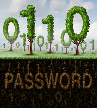 secret code: Password security technology concept as a group of trees shaped as computer digital binary code with a hidden secret access phrase hidden underground in the shape of roots as a metaphor for internet identity protection  Stock Photo