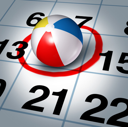 Vacation planning and plan your trip with a beach ball on a calendar with a red highlight circle as a symbol of fun time recreation break plan  photo