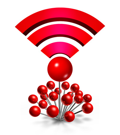 hot spot: Wifi Wireless Location concept with a group of three dimensional red pushpins coming together with one central pin shaped as a wi fi symbol for internet connectivity as a hot spot for media data transfers and communication