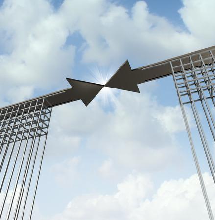 Concepto de la reunión de negocios como un acuerdo de la metáfora de nivel superior con dos caminos en forma de flecha en los puentes que se unen Foto de archivo