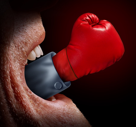 freedom fighter: a screaming mouth and a red boxing glove emerging out as a metaphor for the voice of justice