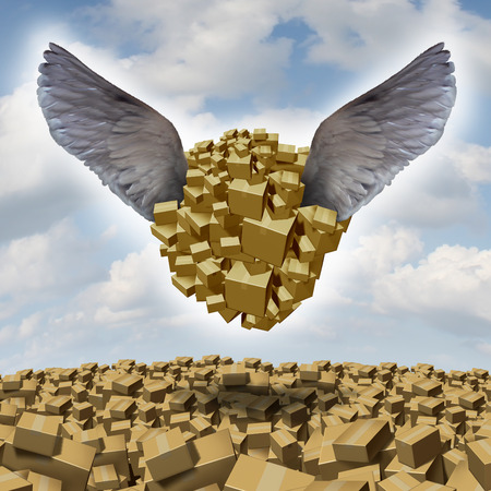 air freight: air freight symbol with a group of cardboard boxes being airlifted for shipping with bird wings