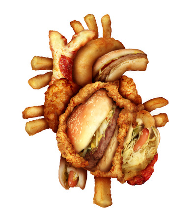 Dangerous heart diet and unhealthy food concept with human cardiovascular anatomy organ made from unhealthy and fried fast food as fries and burgers