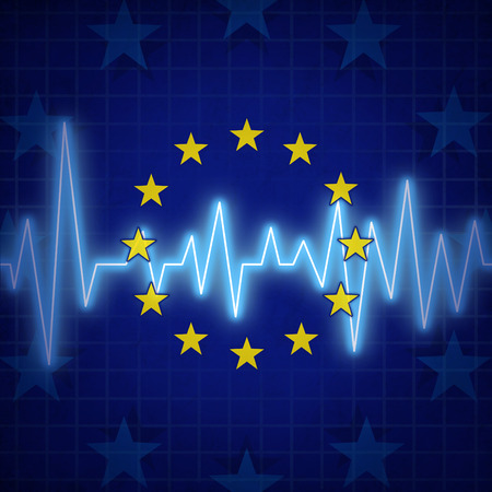 Europe crisis concept and European union challenges symbol with an ECG or EKG monitor lifeline over a flag icon