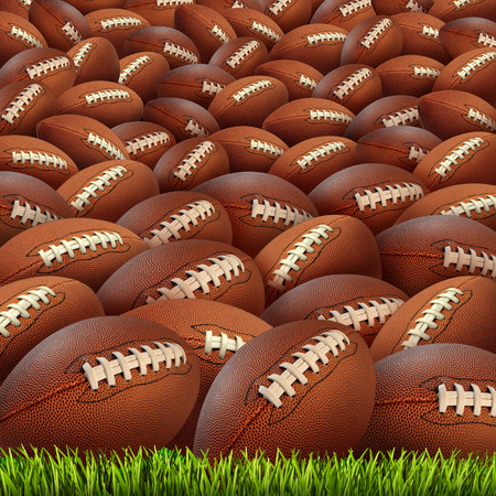 college football: Football group on a grass field Stock Photo
