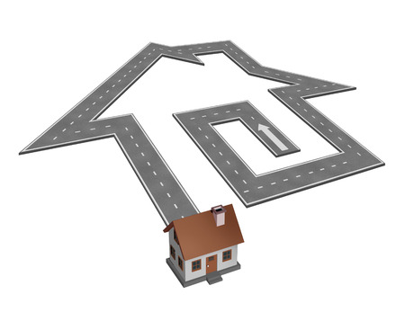 droomhuis: Home search for a dream house concept as a road shaped as a house leading to a family residence