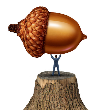 New investment business concept as a businessman standing on a cut tree stump lifting up a giant acorn photo