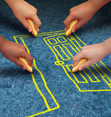 a group of hands representing ethnic groups of young people holding chalk cooperating together as friends to draw a doorway