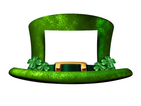 st patty day: Shamrock hat blank sign belonging to a Leprechaun as a white banner with a green lucky top as a classic St Patricks day symbol