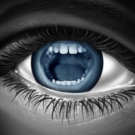 Una pupila humana en su boca gritando como una metáfora para el lenguaje corporal y la lectura de una persona pensamientos y emociones a través de las ventanas del alma Foto de archivo - 26711221