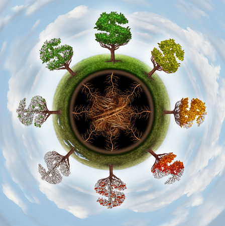 financial metaphor: Business cycle and economic change concept as a group of trees shaped as a dollar sign going through seasonal changes from winter spring summer and fall as a financial metaphor for the global economy  Stock Photo
