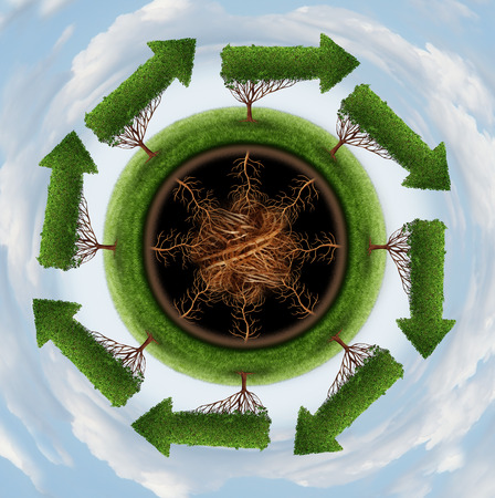 Clean the air environment and conservation concept with a group of global arrow trees going round in a circle as a nature symbol of cleaning the globe of pollution and toxins through a natural cycle  photo