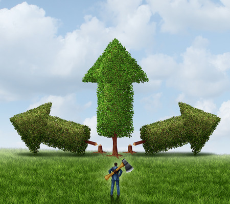 eliminating: Eliminating the competition business concept for managing growth as a businessman with an ax cutting down and wiping out competing trees shaped as arrows to strengthen his chosen winning investment