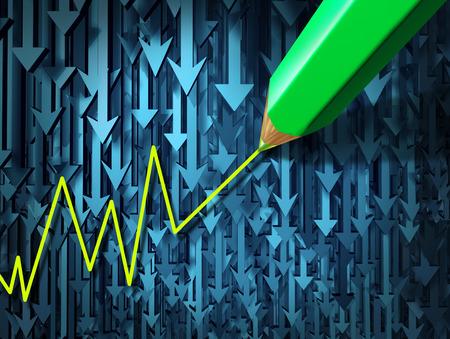 stock predictions: Andare contro il concetto di business investendo corrente e contrarian come un gruppo di tre arrowsgoing tridimensionale in una direzione lungo contrastato da una matita disegno un investimento verso l'alto come icona dell'individualismo pastello