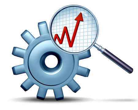 insider information: Marketing research and business analysis concept as a three dimensional gear or cog being examined by a magnifying glass revealing a profit graph as a symbol of industry or company financial information  Stock Photo