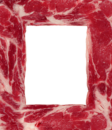 Meat border carnivore food concept as a red meat steak shaped as a frame or border as a symbol of agriculture diet and nutrition from animal flesh as a source of protein and thinking about the risks and benefits  photo