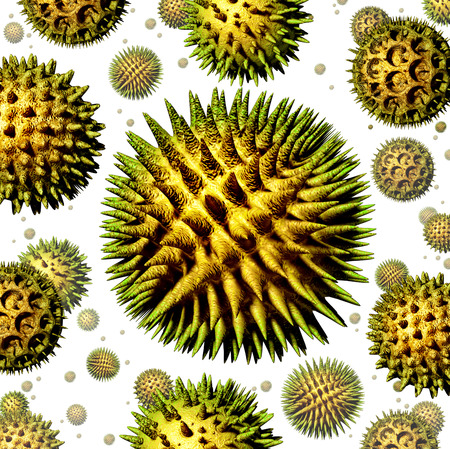 Pollen grains concept as a group of microscopic organic pollination particles of flowering plants flying in the air as a health care symbol of seasonal allergies and suffering from hay fever allergy Фото со стока - 26963845